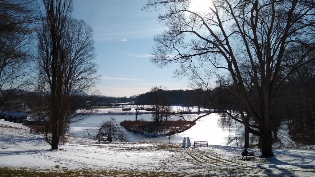Image of snow couple on Paradise Pond